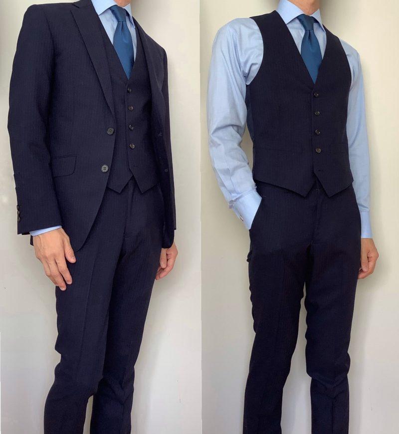 オーダースーツの着用写真。